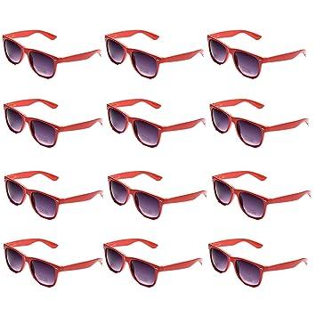 OAONNEA 12 Pares Años 80 Neon Gafas de Sol de Colores Fiesta Adulto (12rojo)