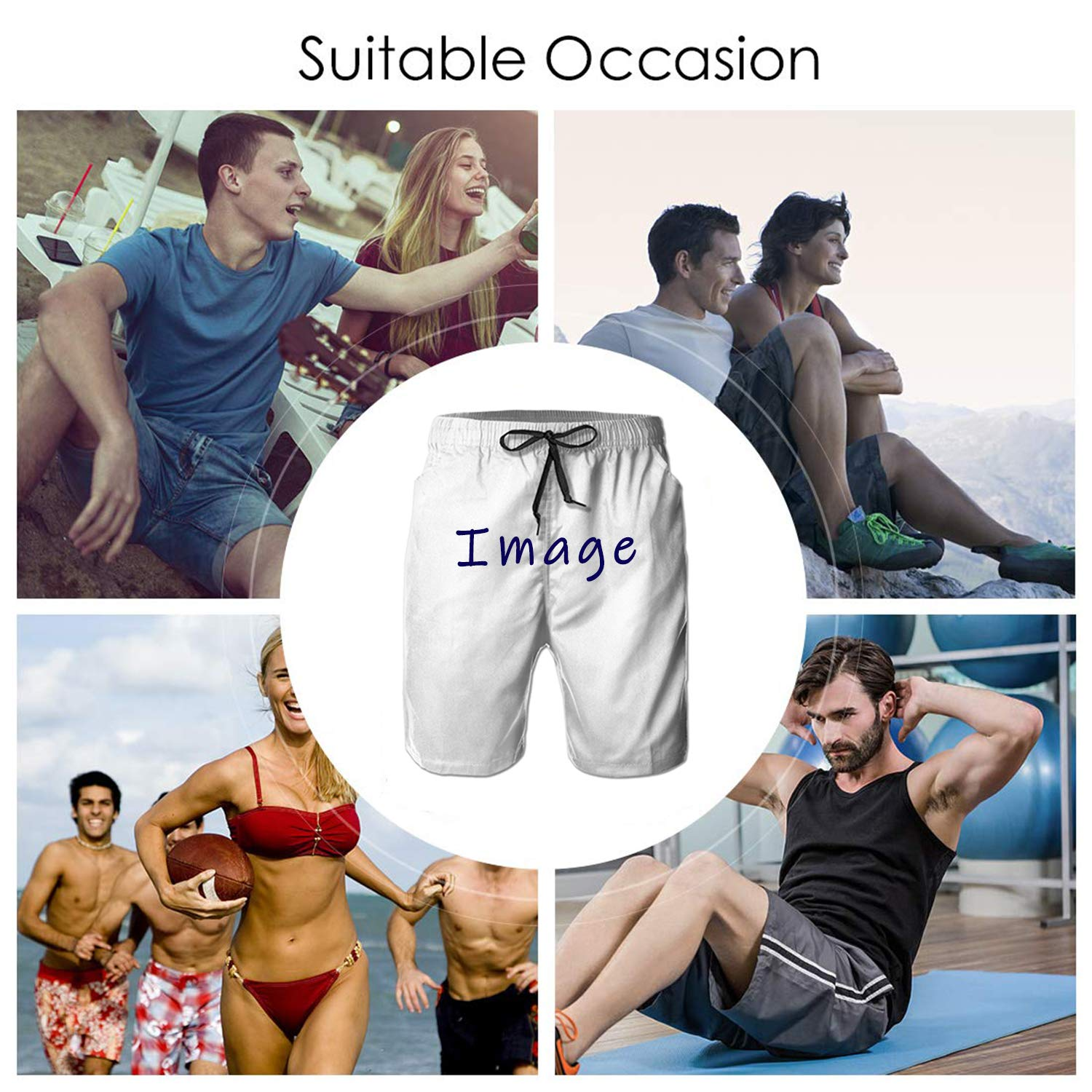 Life Pstore Mens Quick Dry 3D Printed Beach Trunks Board Shorts Casual Summer Swimwear Pants