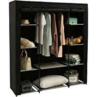 Homebi Clothes Closet Portable Wardrobe Durable Clothes Storage Organizer Non-Woven Fabric Cloth Storage Shelf with Hanging Rod and 10 Shelves for Extra Storage, 59.05″ W x 17.72″ D x 65.4″ H (Black)