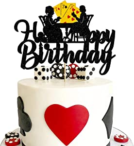 Vivicraft Poker Cake Topper Birthday Decorations, Glitter Happy Birthday Poker Cake Toppers Picks for Muffin Cake Fruit Picks Casino Party Decor - Double Sided (6.89'' x 4.92'')