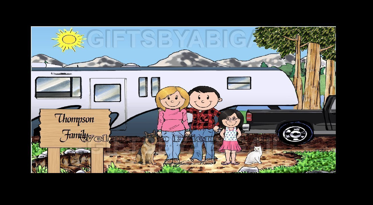 Fifth Wheel Trailer Camping Family Gift Personalized Custom Cartoon Print 8x10, 9x12 Magnet or Keychain