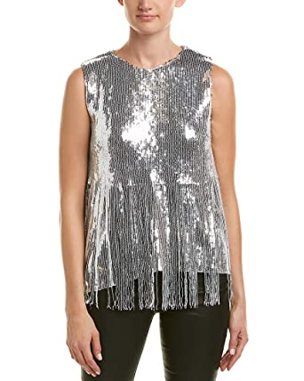 d75df350cf4 Beulah Womens Sequin Top, L, Silver at Amazon Women's Clothing store: