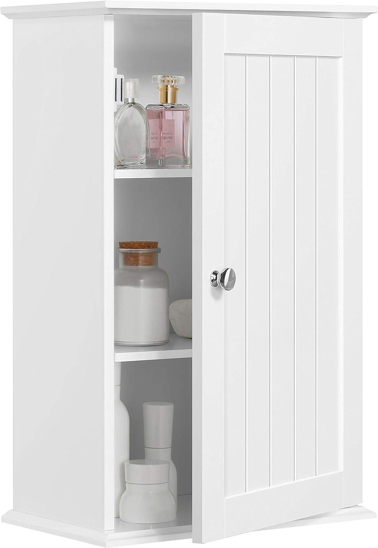Yaheetech Wooden Bathroom 3 Tiers Wall Cabinet Contemporary 1 Door Corner Storage Unit White 35x20 7x55 Amazon Co Uk Kitchen Home