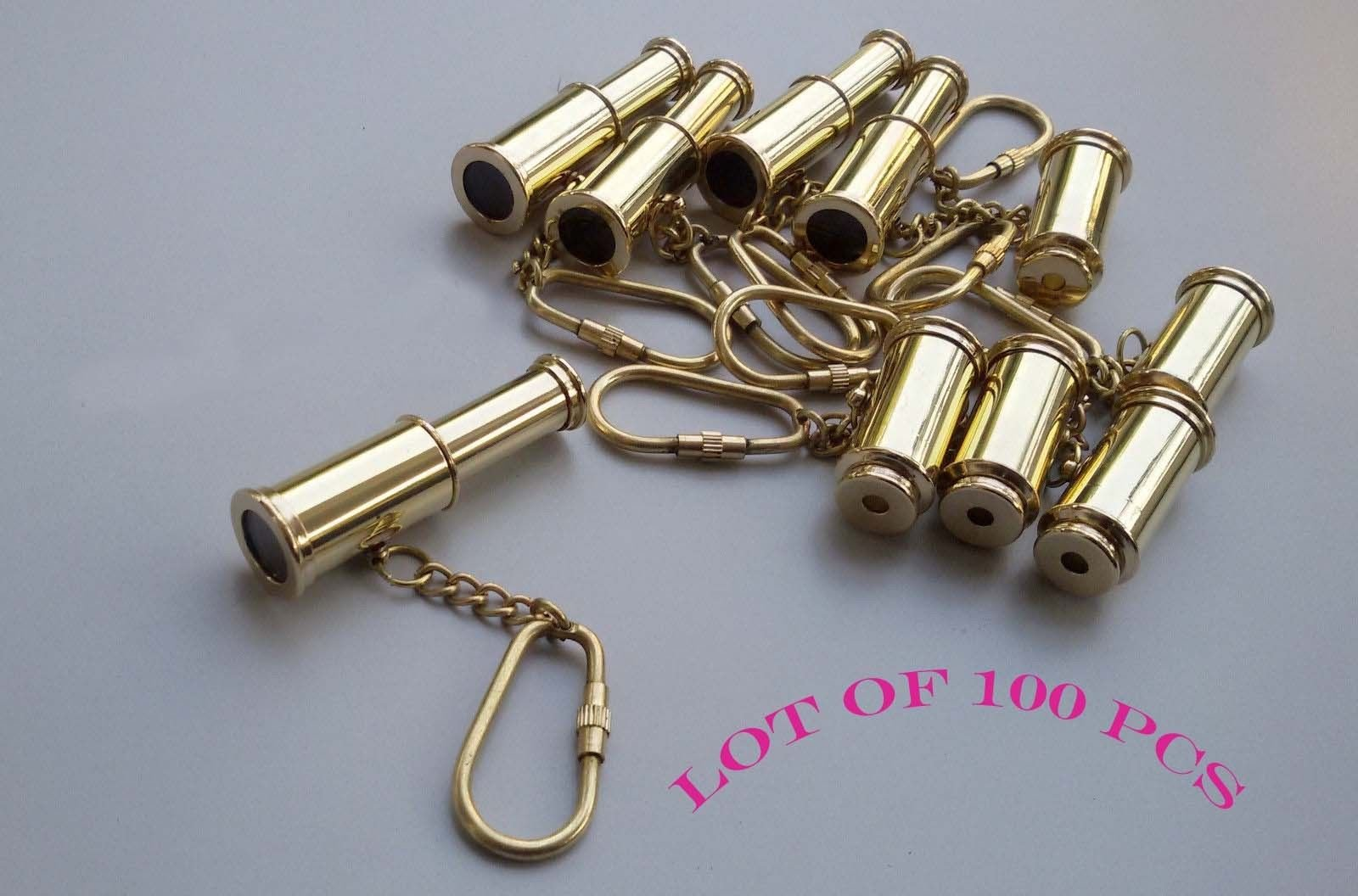 Shaheera Nautical Nautical Brass Telescope Key Chain Antique Handmade Key Ring Lot of 100 Pcs Gift B
