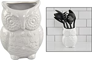 """HOME-X Large Owl Design Ceramic Cooking Utensil Holder, Kitchen Decor for Cooking Accessories, Ceramic Utensil Holder-Multipurpose-White-7"""" H x 4"""" D"""