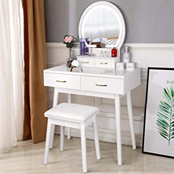 Amzdeal Vanity Set With Lighted Mirror Makeup Vanity Dressing Table With Touch Screen Dimming Mirror 3 Color Lighting Modes 4 Drawers Dresser Desk And Cushioned Stool Set White Furniture Decor