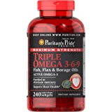 Puritan's Pride Triple Omega 3-6-9 Fish, Flax, and Borage Oils, Omega Fatty Acid Supplement, Purified to Eliminate…