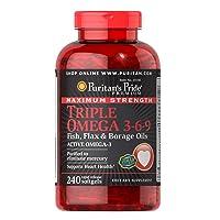 Puritan's Pride Triple Omega 3-6-9 Fish, Flax, and Borage Oils, Omega Fatty Acid...