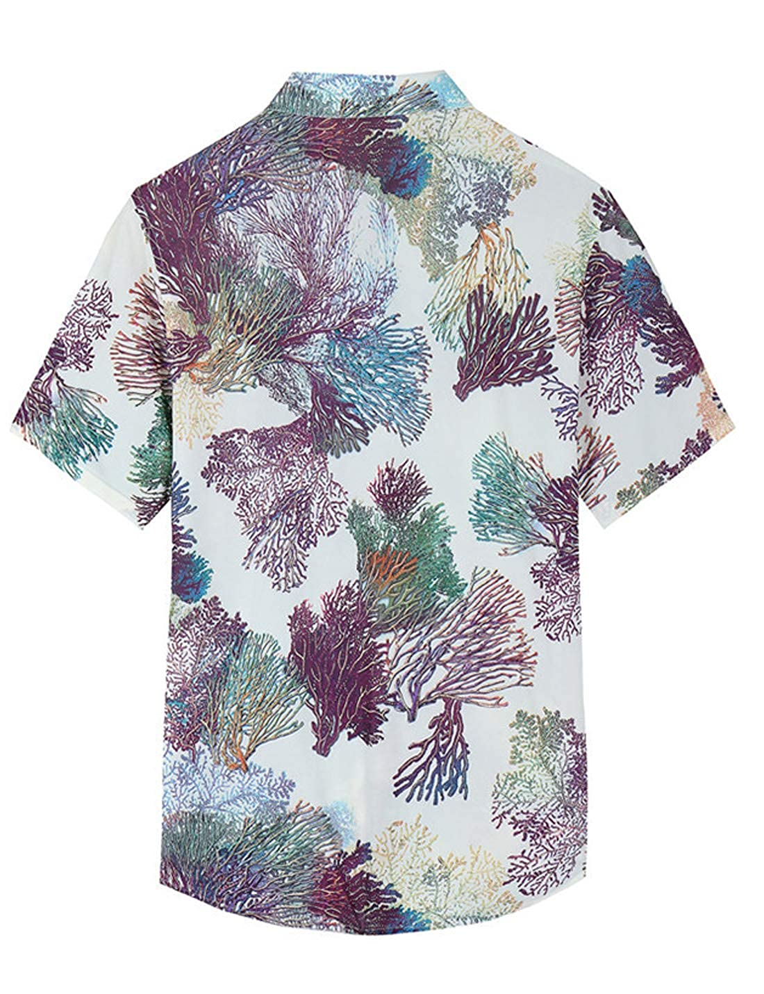 Yimoon Mens Short Sleeve Printed Stretch Casual Beach Hawaiian Shirts