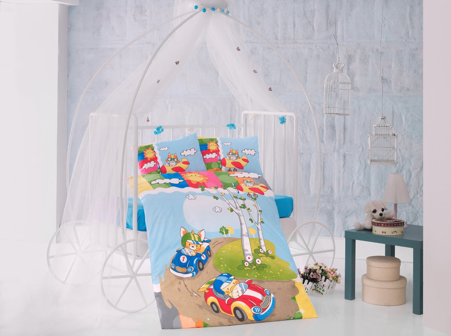 Race Time Blue Cars Baby Cot Bed Duvet Cover Set, 100% Cotton Soft and Healthy 4-Pieces Bedding Set