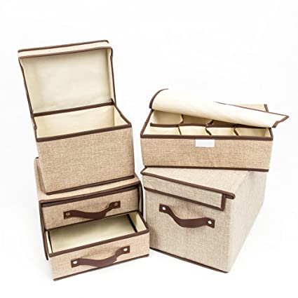 Crazyworld 4 PCs Linen Storage Boxes Bins Baskets Containers With Lids And  Handles, 2