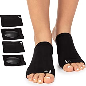 Arch Support Brace for Flat Feet with Gel Pad Inside - 2 Pairs - Plantar Fasciitis Support Brace - Compression Arch Sleeves for Women, Men - Foot Pain Relief for Planter Fasciitis, Arch Pain (Black)