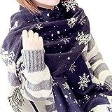 Mai Poetry Women Men Winter Fashion Snowflake Deer Scarves Scarf Wrap Best Gift (Dark Blue)