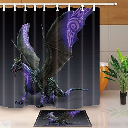 HiSoho Fantasy Shower CurtainsPurple Dragon Monster Game Topic71X71in Mildew Resistant Polyester Fabric