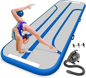 SereneLife Gymnastics Inflatable Air Tumbling Mat - 9.8Ft Outdoor/Home Indoor Gymnastics Mat Air Track Tumbling Mat - Floor Tumble Track Mats for Gymnastics, Yoga, Cheerleading SLGM3BL (Blue)