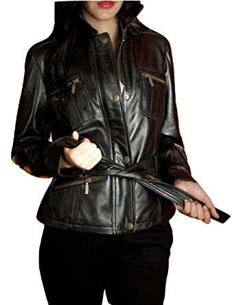 6ee956b50 LeatherJacket4 Valence Women's Stylish Belted Trench Hipster Shiny ...
