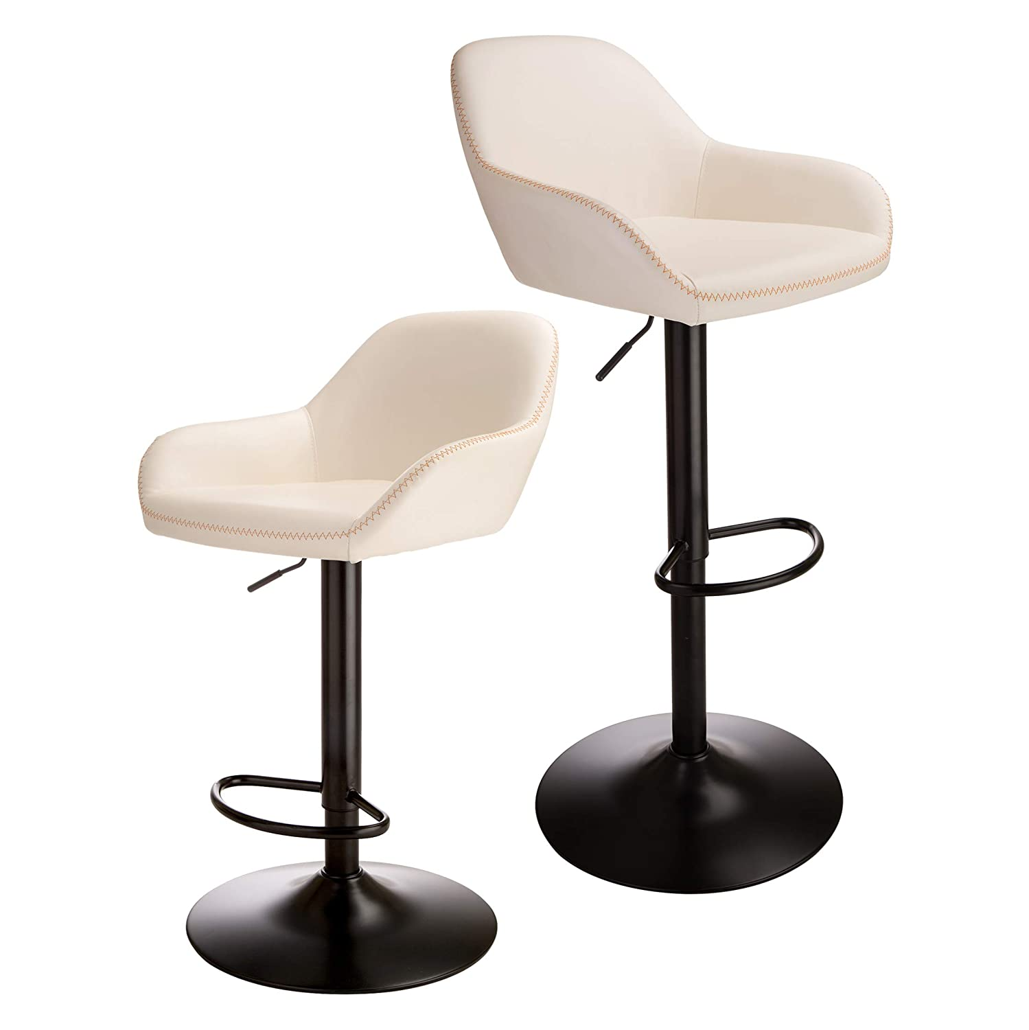 Glitzhome Mid-Century Bar Stool with Back Support Adjustable Leather Counter Height Home Swivel Bar Stools Dining Chair Milk Set of 2