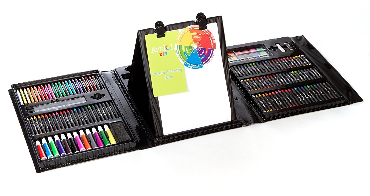 Kids 179-Piece Double Sided Trifold Easel Art Set (Premium pack)