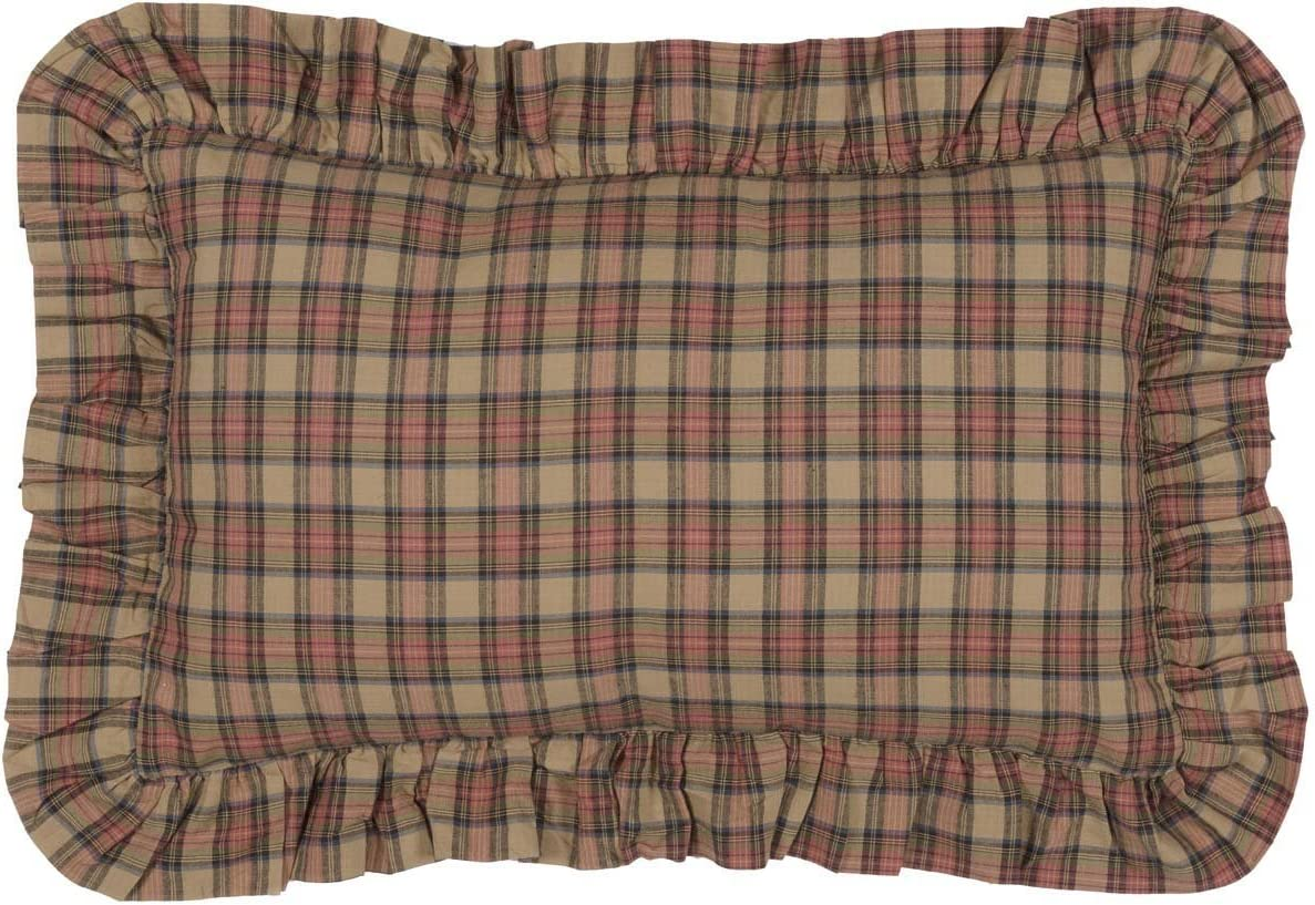 VHC Brands Primitive Bedding Cinnamon Cotton Plaid Rectangle Cover Insert Pillow, Natural Tan
