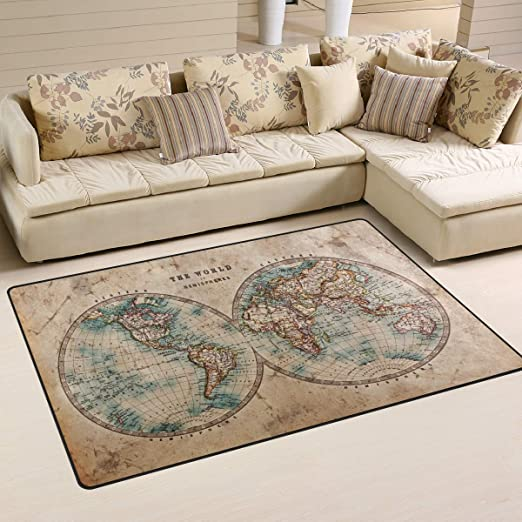 World Map Retro Wood Board Room Floor Carpet Non-skid Door Bath Mat Decor Rugs