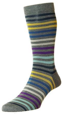 fe659b19b Pantherella Mens Kilburn All Over Stripe Cotton Lisle Socks - Mid Grey Mix  - Large