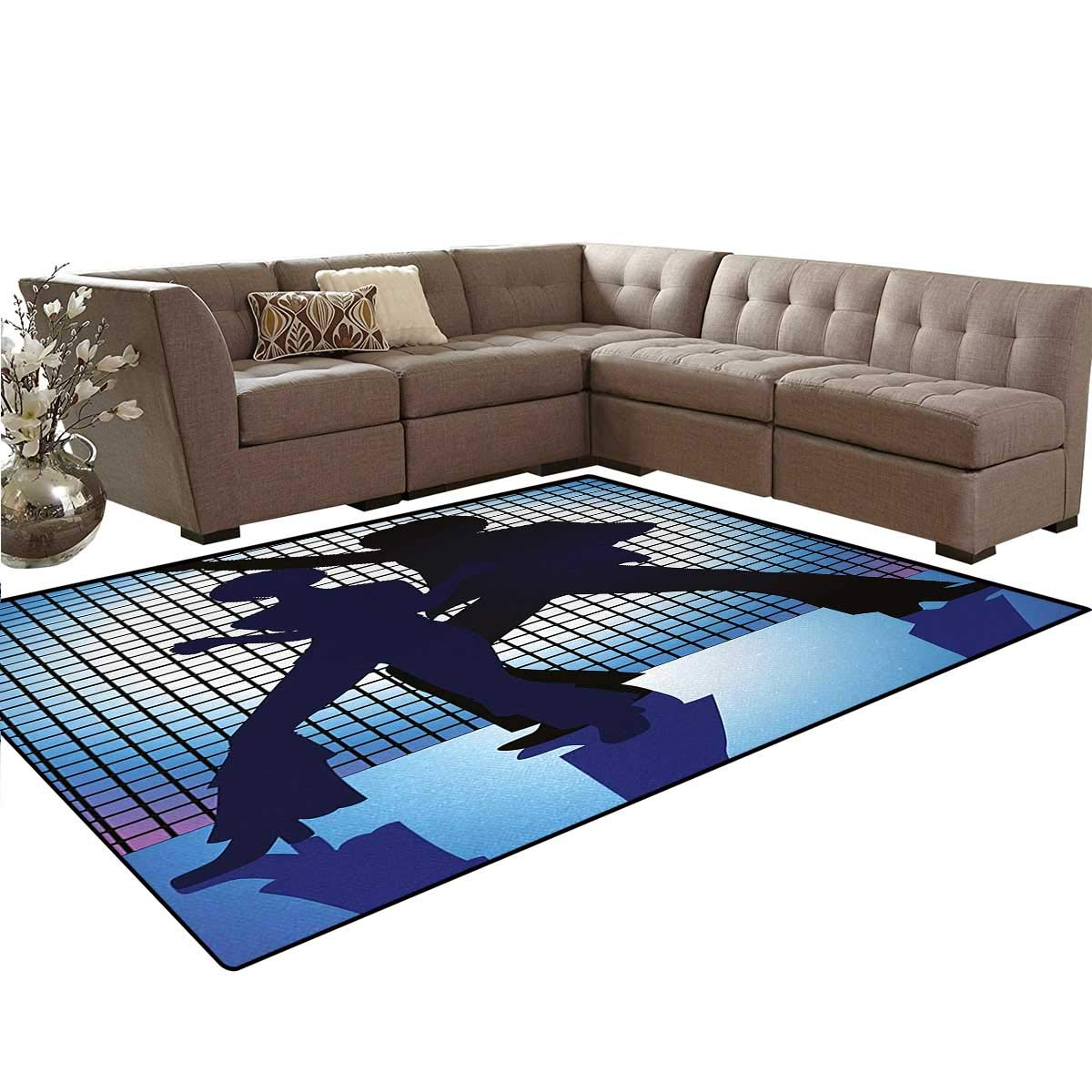 70s Party,Carpet,Couple Silhouettes on The Dance Floor in Night Life Oldies Seventies Fun,Rugs for Living Room,Blue Purple Black,5'x6'
