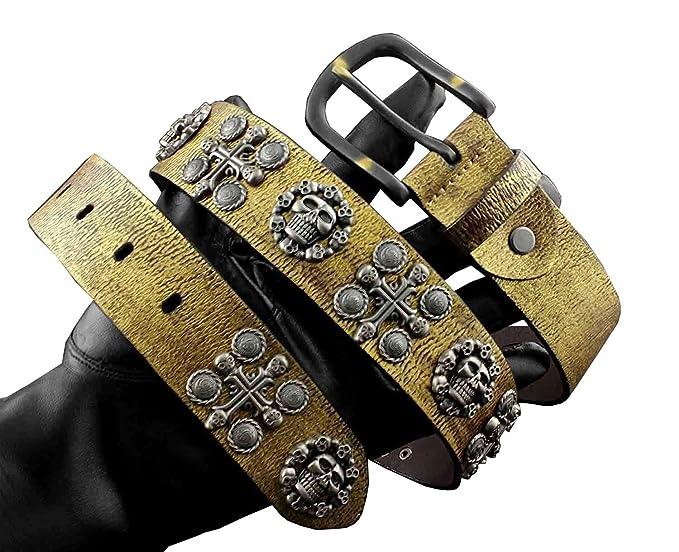 Mens Skull X Studded Pin Buckle Biker Punk Leather Belt Rock Gothic Waistband