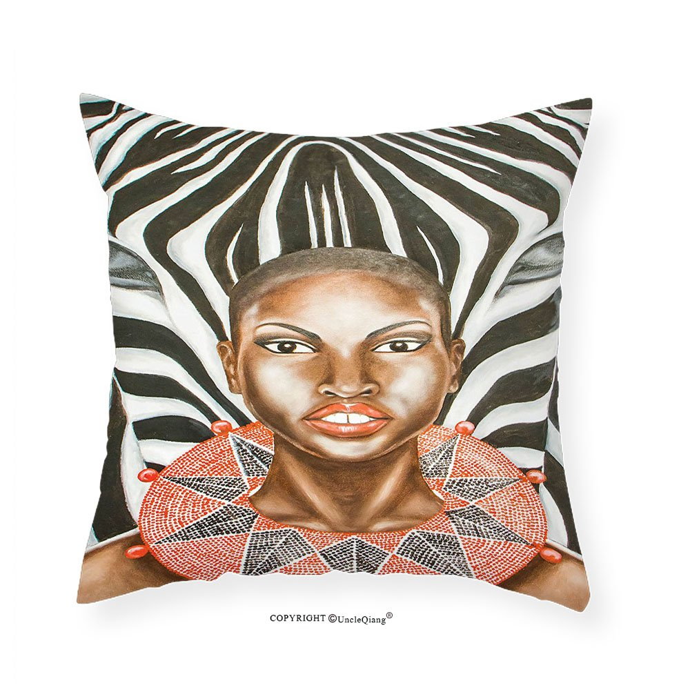 VROSELV Custom Cotton Linen Pillowcase Country Decor Collection African Woman with Zebra Spirit Animal Mother Nature Themed Artistic Image Bedroom Living Room Dorm Black White Brown 14'' x14