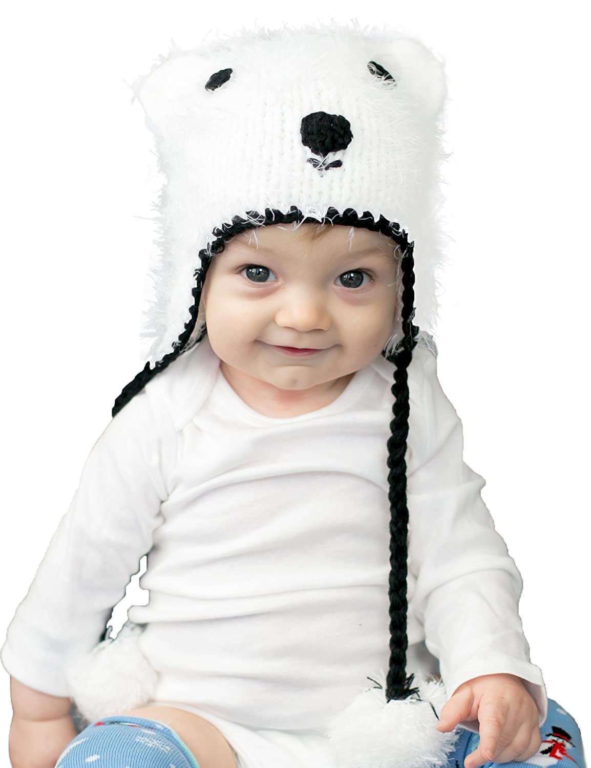 Amazon.com  Huggalugs Baby and Toddler Boys or Girls Polar Bear Beanie Hat   Clothing bcd4227dc6a