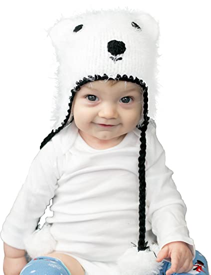 79cdfe2c654 Huggalugs Baby and Toddler Boys or Girls Polar Bear Beanie Hat Small