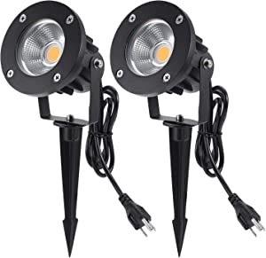 LCARED LED Landscape Light High Power 18W,120V AC,Warm White Waterproof Landscape Spotlights for Yard,Patio,Lawn, Wall, Flood,Driveway,Tree Lighting,Metal Ground Stake (2 Packs)