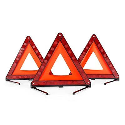 DEDC 3 Pack Warning Triangle Foldable Safety Triangle Triple Warning Kit Warning Triangle Reflector Roadside Hazard Sign Triangle Symbol for Emergency with Storage Bag: Automotive