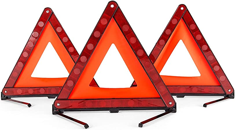 Majic Triangle Warning Reflector Alerts Motorist in case of Emergency or Tire Change Collapsable Design 2-Pack