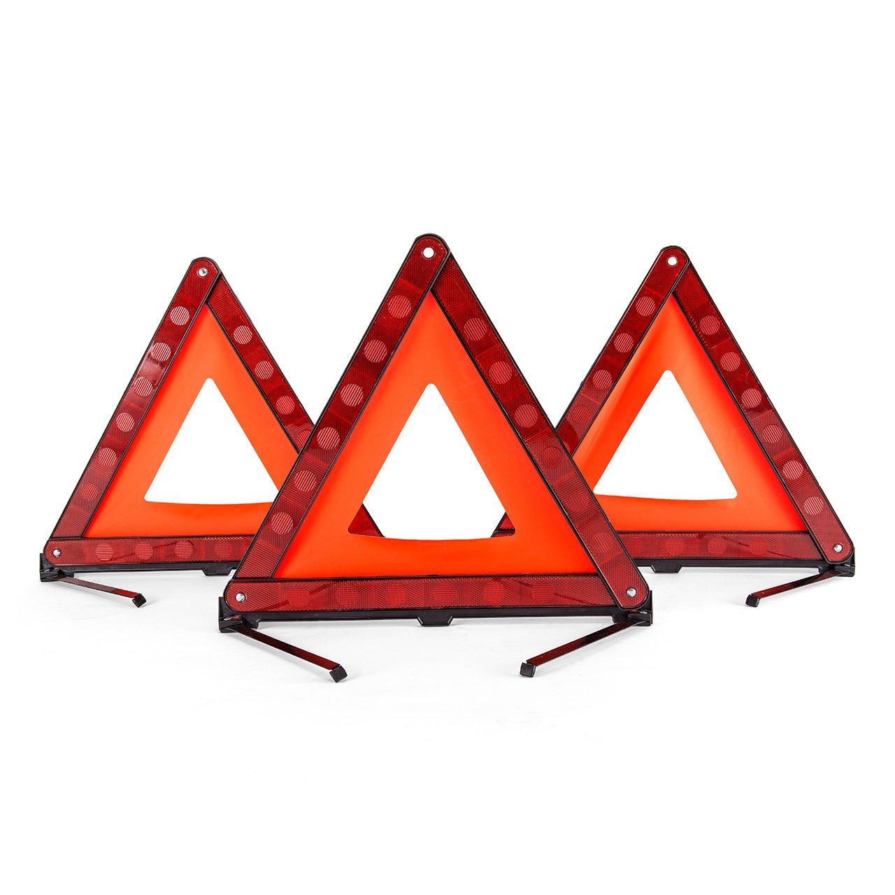 DEDC 3 pezzi Triangoli di Segnalazione Triangolo d'Avvertimento Triangolo Sicurezza Emergenza Stradale Kit Riflettente Triangolo di Segnalazione Pieghevole con il Sacchetto di Stoccaggio