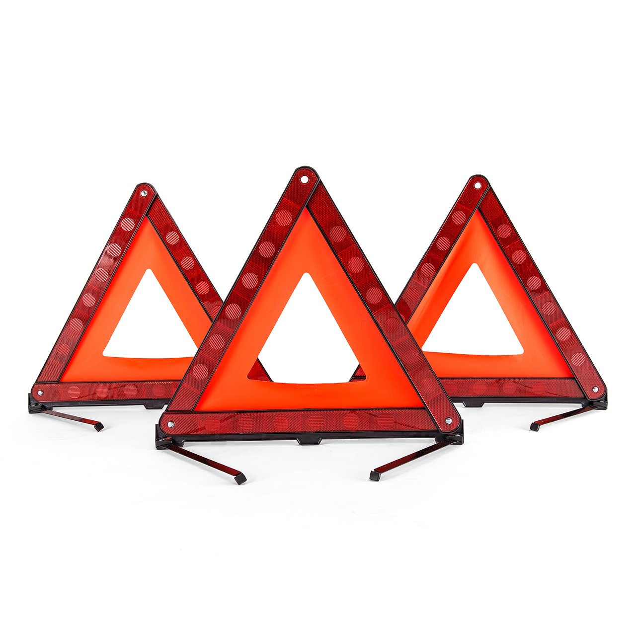 DEDC 3 Pack Warning Triangle Foldable Safety Triangle Triple Warning Kit Warning Triangle Reflector Roadside Hazard Sign Triangle Symbol for Emergency with Storage Bag by DEDC