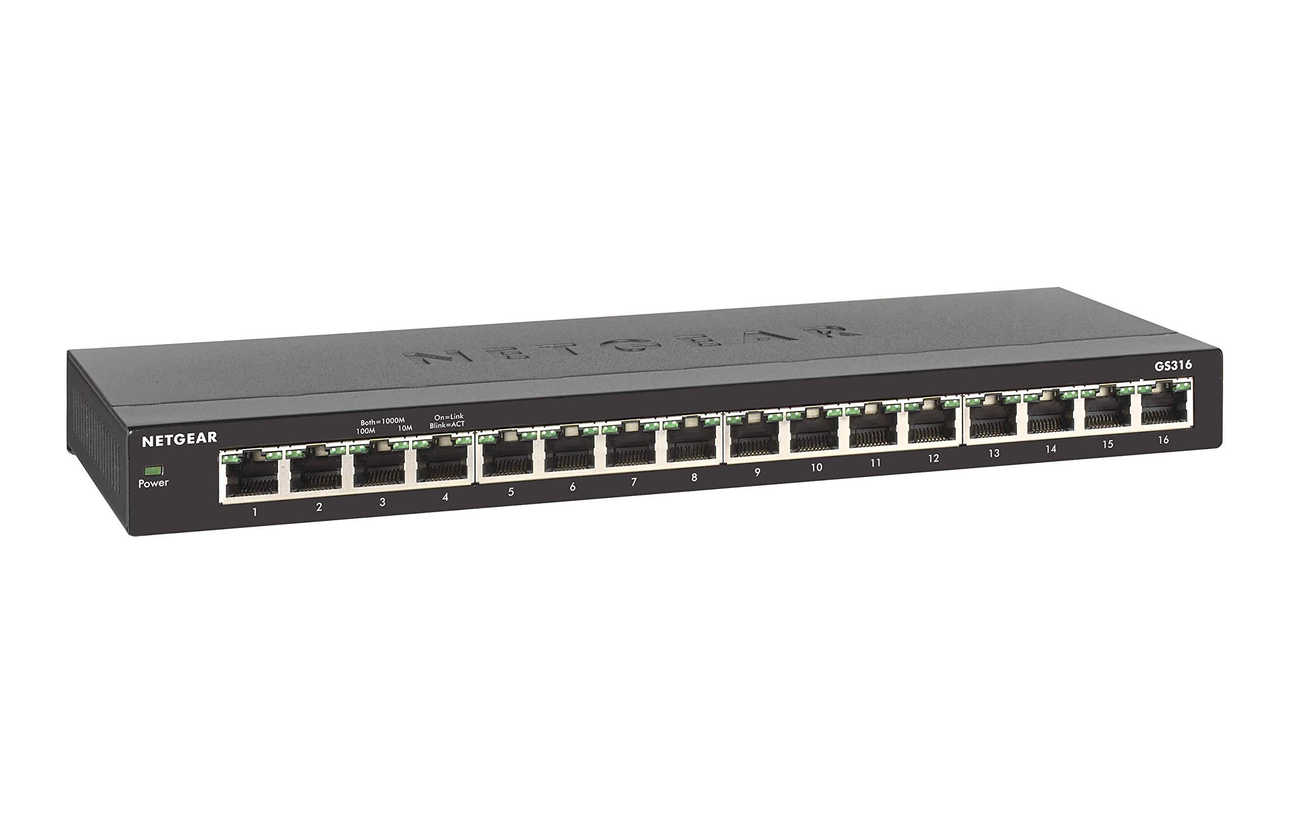 NETGEAR 16-Port Gigabit Ethernet Unmanaged Switch (GS316) - Desktop, Fanless Housing for Quiet Operation by NETGEAR