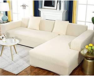 HUANXA Stretch L Type Sofa Slipcover, Combination Sofa Cover, Anti-Slip Couch Covers, Thicken Furniture Protector L Shape Sofa Cover -Off-White-2 Seater 145180cm 5771inch