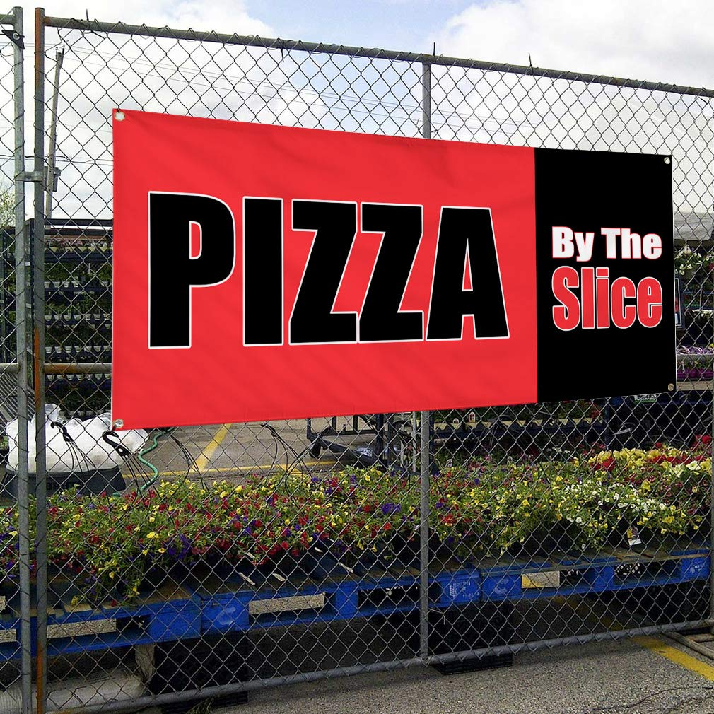 Set of 2 Vinyl Banner Sign Pizza by The Slice red Black Outdoor Marketing Advertising Red 32inx80in Multiple Sizes Available 6 Grommets