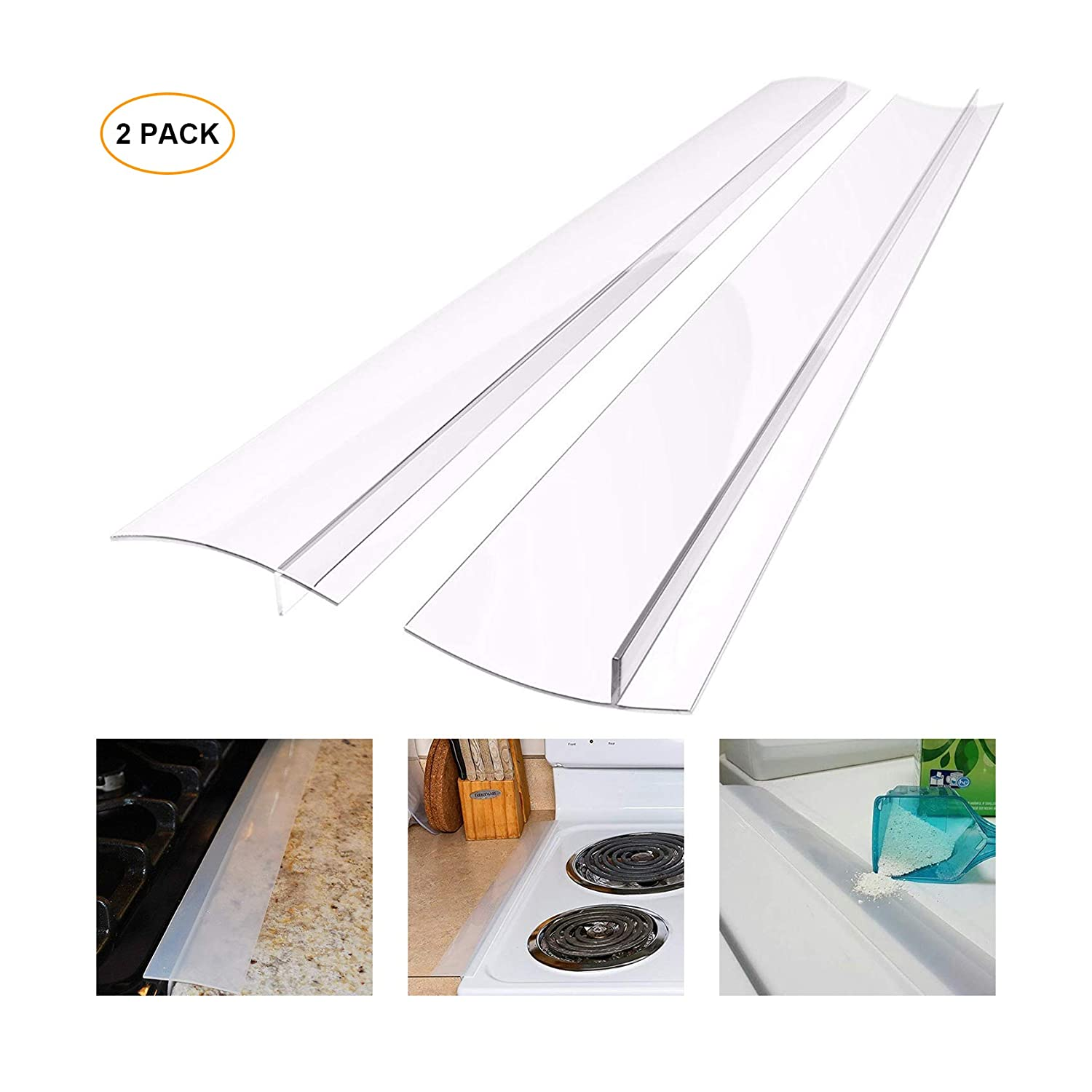 Silicone Stove Counter Gap Cover, Heat Resistant Kitchen Stove Counter Silicone Gap Filler Cover Seals Spills Between Counter Stovetop Oven Washer Dryer, 2 Pack (21 inch, Translucent White)