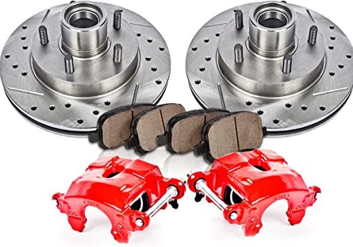 Quiet Low Dust Ceramic Pads Performance Kit 2 4 Calipers + Rotors FRONT Powder Coated Red 2