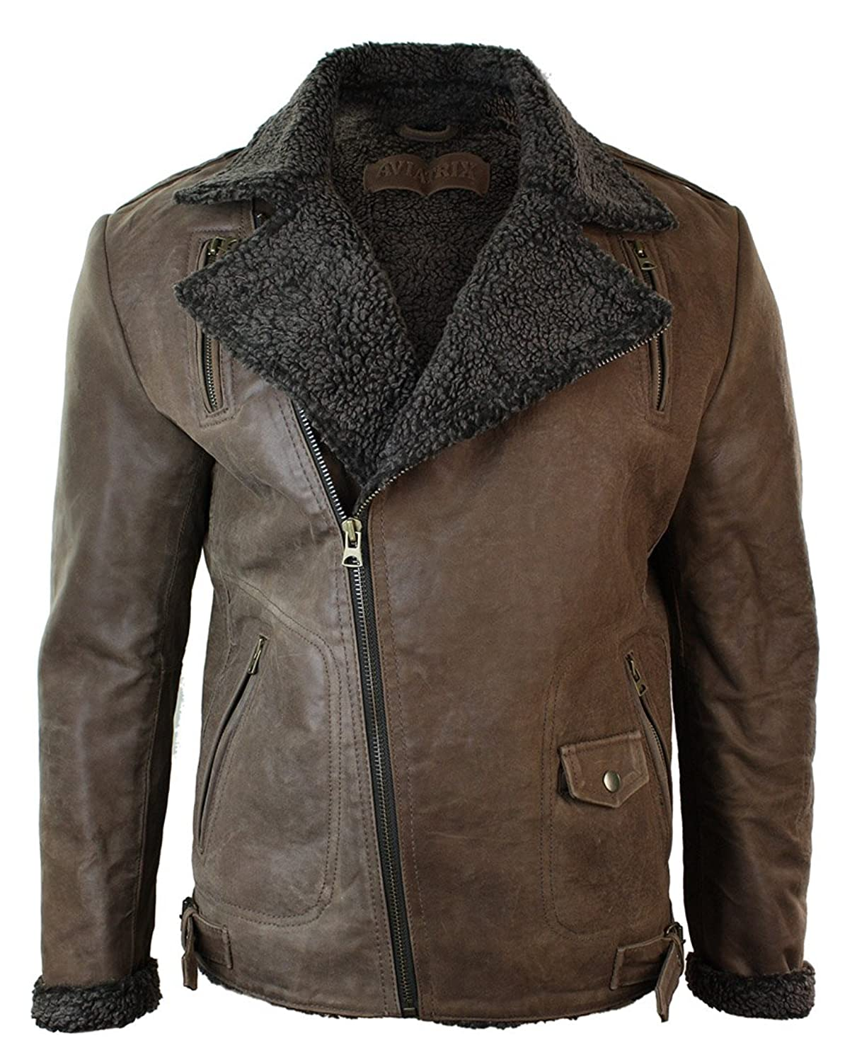 Mens Slim Fit Cross Zip Tan Brown Vintage Leather Biker Jacket Fur ...