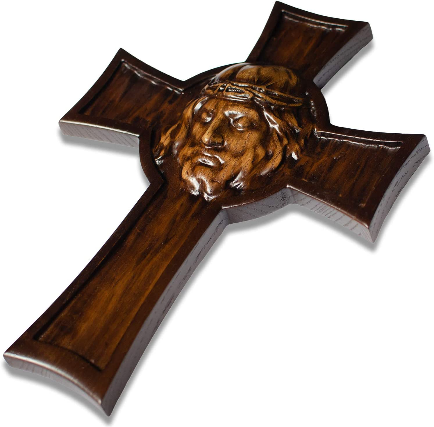Handmade Wooden Wall Cross for Home Decor - Holy Jesus Face - Decorative Catholic Hanging Crosses - 12 Inch