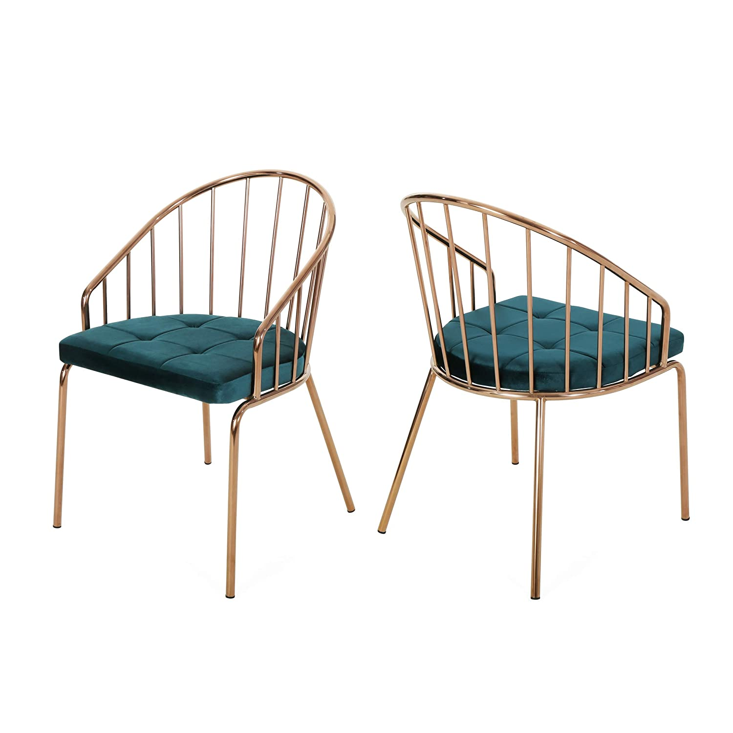 Christopher Knight Home Marcia Modern Velvet Dining Chair with Stainless Steel Frame (Set or 2), Teal and Rose Gold