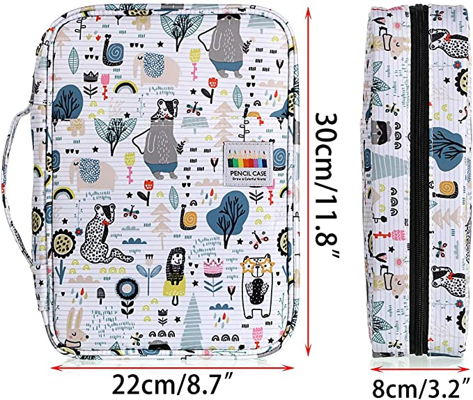 BTSKY Large Capacity Colored Pencil Case Can Hold 220 Pencils Pumpkin Drawing Painting Storage Bag Waterproof Cartoon Pattern Pencil Case with Portable Handle Artist Pencil Stationery Pouch