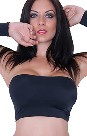 3c900868a63 Fantasystore BM black stretchy spandex lycra boob tube bra top no support   Amazon.co.uk  Clothing