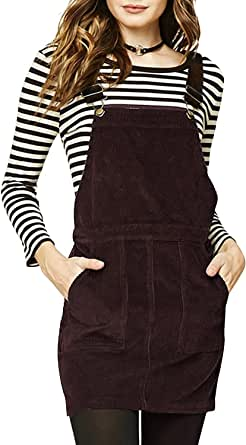 HaoDuoYi Women's A-Line Corduroy Mini Overall Dress