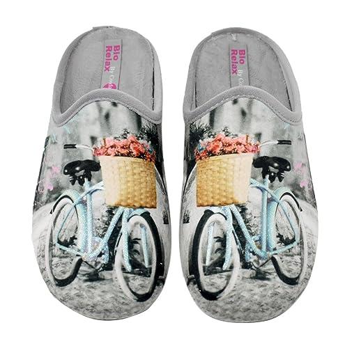 BIORELAX Zapatillas de casa para mujer - Bicicleta - 9075R - Perla (37)