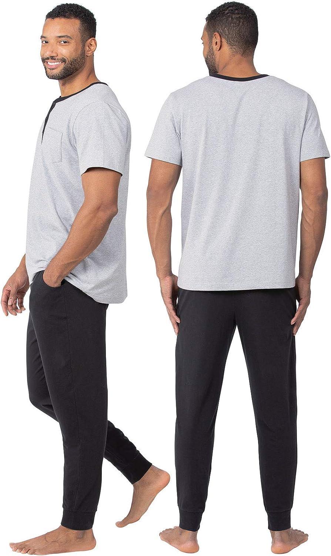 PajamaGram Mens Pajamas Soft Cotton Ringer Tee Pajama Set for Men