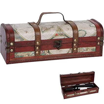 Amazon 138 old world map design wine box wooden with 138quot old world map design wine box wooden with leather handle and accents gumiabroncs Gallery