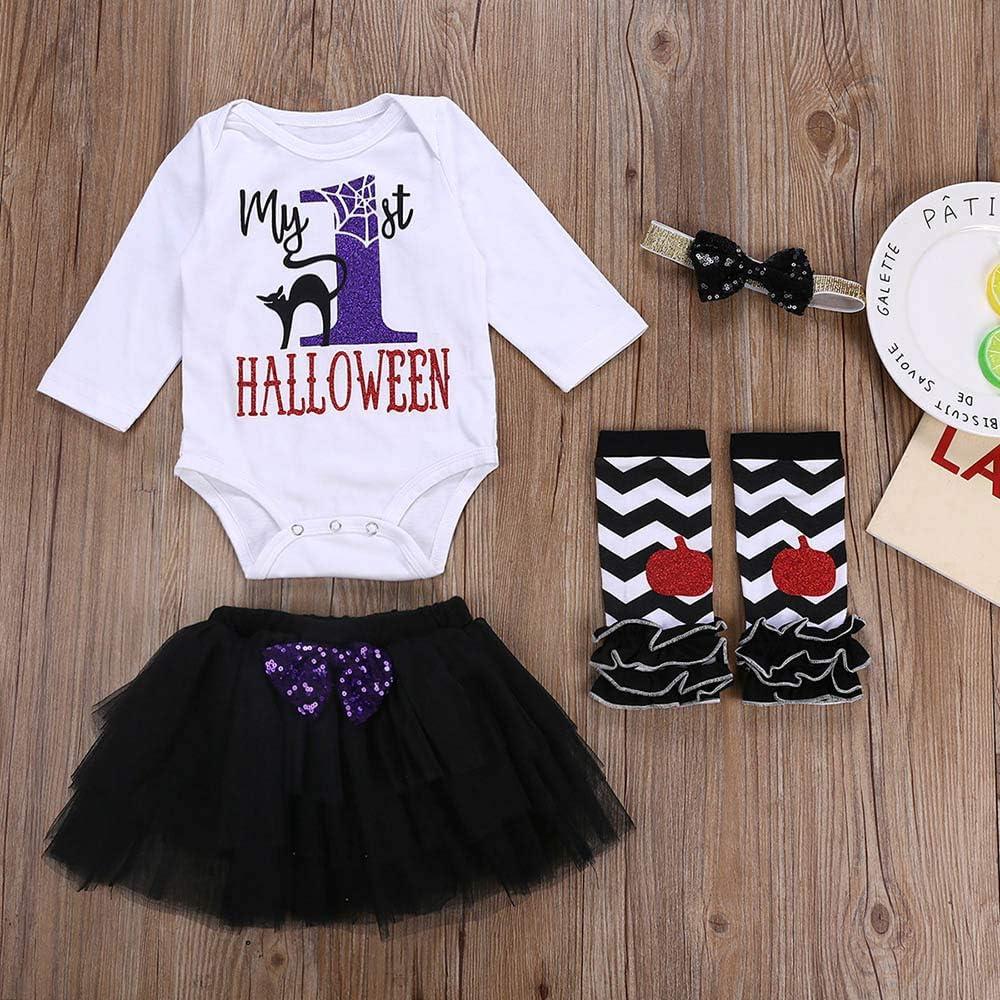 XUANOU Baby Long Sleeve Halloween Letter Romper+Tutu Skirt+Hair Band+Striped Legs 4PCS Infant Girl Leg Warmers Headband